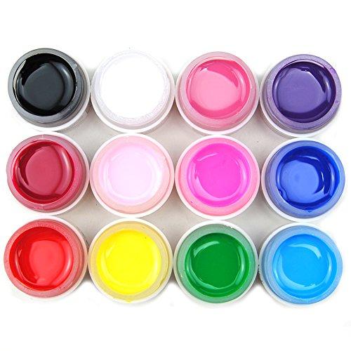 WindMax(R) Professional 12 PCS Solid Pure Mix Color Uv Builder Gel False Tips Acrylic Nail Art Set for Beauty Salon - Uv Shop