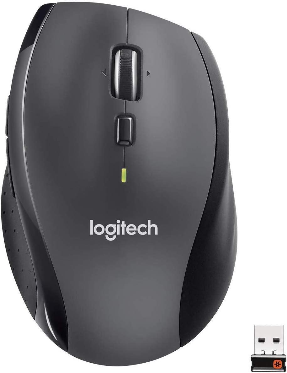 Logitech M705 Marathon Ratón Inalámbrico, 2,4 GHz con Mini Receptor USB, Seguimiento Óptico 1000 DPI, 7 Botones, Batería 3 Años, PC/Mac/Portátil , Negro