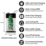 9v Battery,POOVER 680mAh Rechargeable 9volt Lithium Li-ion Battery with 9v Connector Smoke Alarm