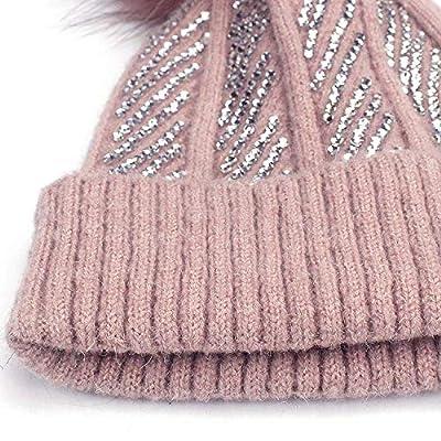 ExpertS Hats Winter Rhinestones Diamond Hat Winter Hat for Women Dyeing Pom Poms Warm Hat Wool Warm Cap Knitted