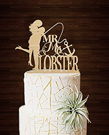 Wedding Cake Toppers Bride And Groom Fishing Anchor Personalized Last Name Gifts