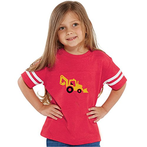 Skid Steer Digger Truck Toddler Football Jersey T-Shirt Tee Oxford Gray 4T