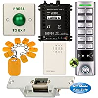 DIY Access Control Waterproof Keypad Office RFID Key Ring Entry System Kit + Electric Strike Door Lock NC Fail Safe
