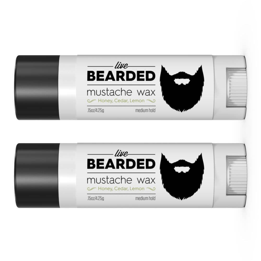 Mustache Wax for Men (2 Tubes) | Live Bearded Made in USA | Beard Mustache Wax Kit