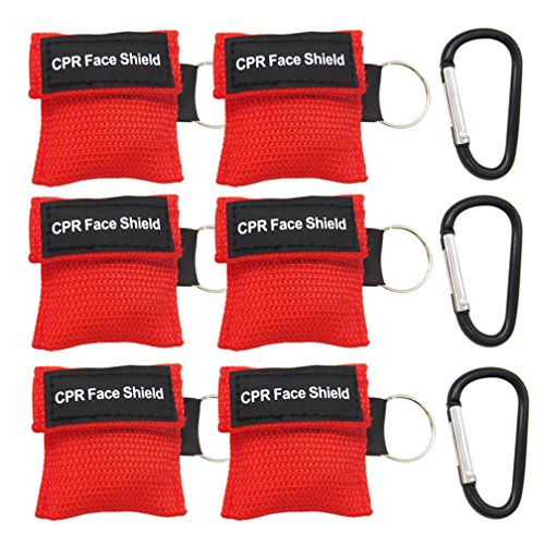 ESFUN 6 Pack CPR Mask Keychain kit - One way