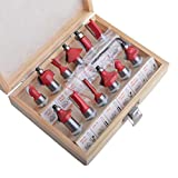 Gunpla 12 Pieces Tungsten Carbide Tipped Router Set 12.7mm Shank TCT Router Bit Woodworking Milling Cutter Tools with Wood Storage Case Set for Doors, Tables, Shelves, Cabinets, DIY Wood