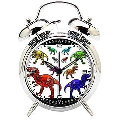 Children's Room Silver Dinosaur Silent Alarm Clock Twin Bell Mute Alarm Clock Quartz Analog Retro Bedside and Desk Clock with Nightlight-138.238_Multicolor T-rex Dinosaurs