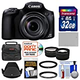 Canon PowerShot SX60 HS Wi-Fi Digital Camera with 32GB Card + Case + Battery + Hood + Tele/Wide Lens Kit