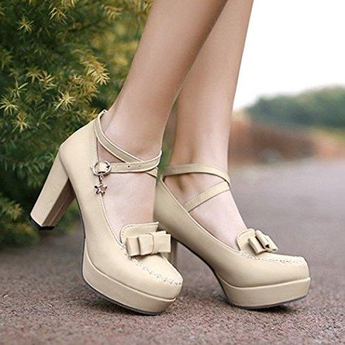 CHNHIRA Women's Summer Bright Court Shoes Toe Block High Heel Belt Bowknot Beige HkG1yh1