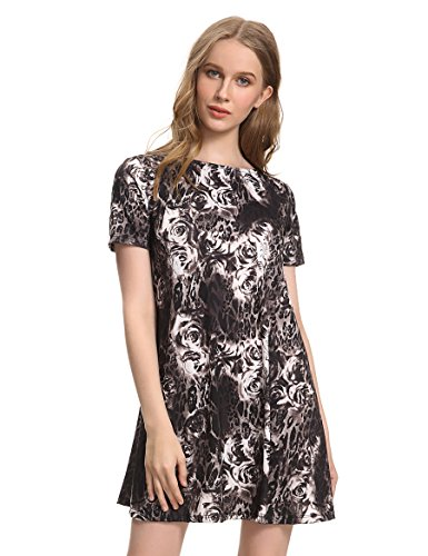 OEUVRE Women's Jersey Paisley Leopard Print Short Sleeve Tunic Dress Casual Wear Black 12 (Jersey Leopard Print Dress)