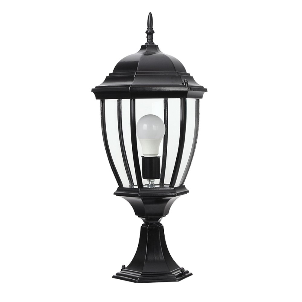 Modeen Continental Aluminum Bronze Glass Lantern Outdoor Table Lamp Column Light Aluminum Ip54 Waterproof Villa Patio Park Garden Lawn Light E27 Decoration Illumination (Color : Black, Size : L)