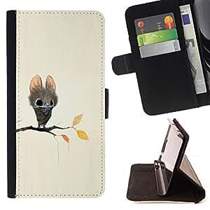 BullDog Case - FOR/HTC One M8 / - / BAT CARTOON FAIRY TALE CUTE BIG EYES ANIMAL /- Monedero de cuero de la PU Llevar cubierta de la caja con el ID Credit Card Slots Flip funda de cuer