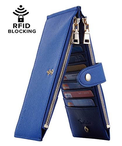Wallet Womens Blue (Travelambo Womens Walllet RFID Blocking Bifold Multi Card Case Wallet with Zipper Pocket (CH Blue Deep 6097))