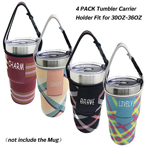 4 PACK Tumbler Carrier Holder Pouch,For All 30oz Stainless Steel Travel Insulated Coffee Mugs,Sonku Neoprene Sleeve with carrying handle,Sweat Free,Portable,Protective,Washable -4 - Pouch Handle