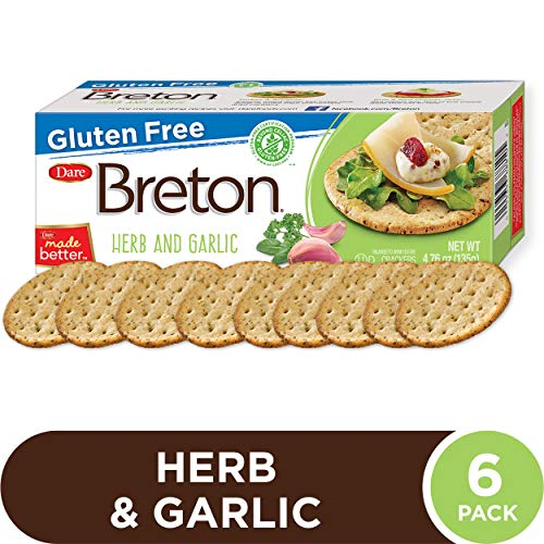 Dare Breton Gluten Free Entertaining Crackers, Herb and Garlic - Gluten Free Party Snacks with no Artificial Colors or Flavors - 4.76 Ounces (Pack of 6)