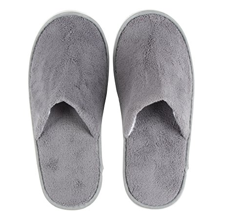 Disposable Slippers - 12-Pack Disposable Slippers, Great for Hotel, Spa, Guest, Nail Salon Use - Non-Slip - Made From Fleece, Grey - fits up to US Men's Size 11 and US Women's Size 12 by Juvale (Image #2)