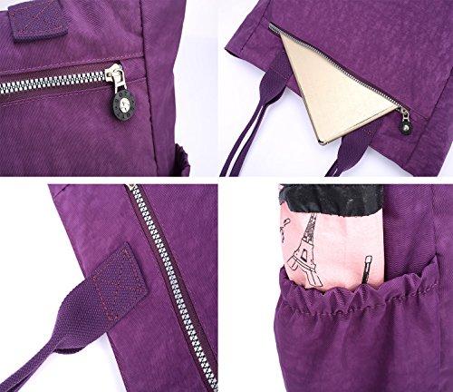 Nylon Water Resistant Multi Pockets Large Lightweight Tote Bag Shoulder Bag Waterproof Handbags (LightGray HB) by MORHUA (Image #2)
