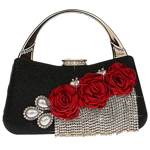 and 19 Shape Shoulder Bag Ladies Leather for with 18cm EDLUX Party Buckle PU Banquet Black Blue Bag 5 Women Handbag Metallic Evening Floral Tassel w18Hn8OIq