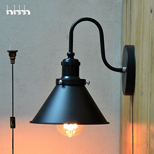 kiven American industrial style iron wall lamp e26 base plug in ul listed 6 Foot black Cord(BD0428) (Coffee Plans Table Outdoor)