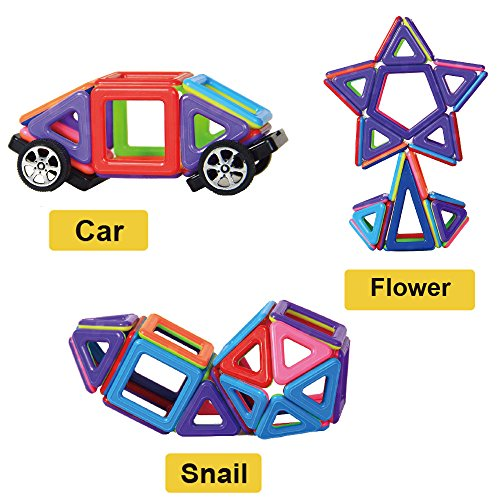 Magnetic Building Blocks | 76 Pieces | Let Your Kid Learn Colors and Shapes through Play | Instruction Booklet