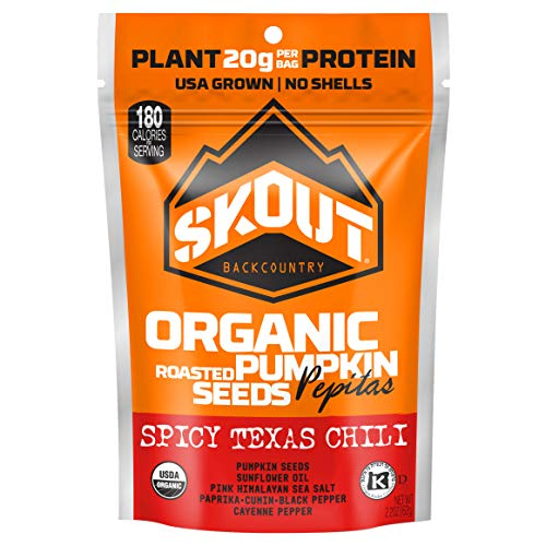SKOUT Organic Roasted Pumpkin Seeds - Spicy Texas Chili - Pepitas With No Shell - Vegan, Low Carb Snacks - Paleo Foods - Gluten Free - Non-GMO - Kosher - Grown in USA - 2.2 oz (6 Count) (Flavored Pumpkin Seeds)