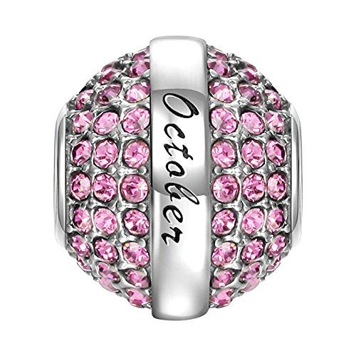 SOUFEEL October Birthstone Charm Pink Red Swarovski Crystal 925 Sterling Silver Charms Fit European Bracelet