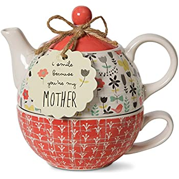Pavilion Gift Company 74068 Bloom Mother Ceramic Tea for One, 15 oz, Multicolor
