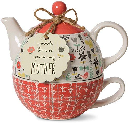 Pavilion Gift Company 74068 Bloom Mother Ceramic Tea for One, 15 oz,...