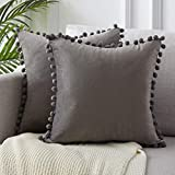 Topfinel Grey Velvet Cushion Covers 24x24 Inch Large Square Decorative Throw Pillowcases for Livingroom Sofa Bedroom 60cmx60cm,Pack of 2