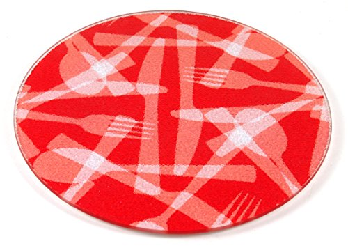 Strawberry Flatware Tempered Glass Round Cutting Board, 8 Inch - Glass Round Cutting Board