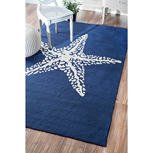 D&H 3'x5' Navy Blue White Starfish Beach Sealife Printed Are