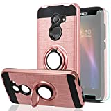 Ymhxcy For Alcatel Zip LTE Case,Alcatel Kora Case,A577VL A576BL Phone Case with HD Screen Protector, 360 Degree Rotating Ring & Bracket Dual Layer Shock Bumper Cover For Alcatel A30-ZH Rose Gold