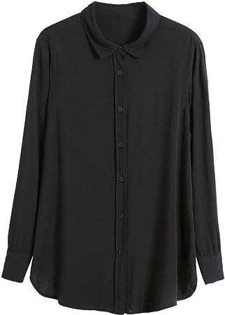 Oficina de Primavera y Verano para Mujer, Camisa Formal de Manga Larga, Camisa Escolar de algodón, Camisa Blanca Casual Suave: Amazon.es: Hogar