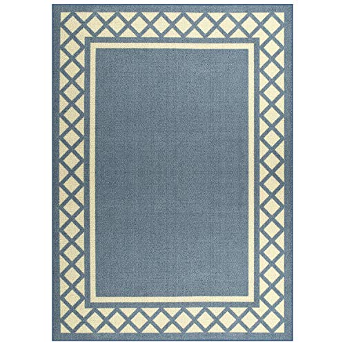 Maples Rugs Area Bella 5 x 7 Non Slip Large Rug [Made in USA] for Living, Bedroom, and Dining Room, Blue