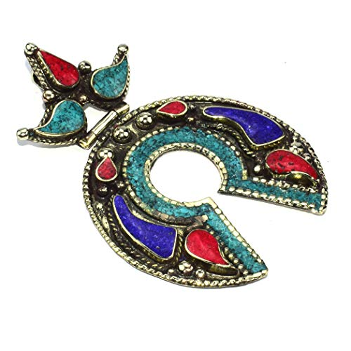 Coral Silver Tibetan Sterling - 925 Sterling Silver Plated Tibetan Turquoise Coral Nepali Pendant Jewelry