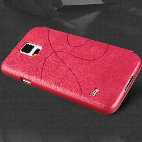 Moon Monkey Slim Business Theme Style Lightweight Folio Leather Case for Samsung Galaxy S5 (Rose)