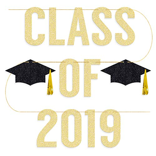 Graduation Party Supplies 2019 - Class of 2019 Banner - Pre-strung | Grad Party Decorations, Graduation Cap Tassel Decor, Gold and Black]()