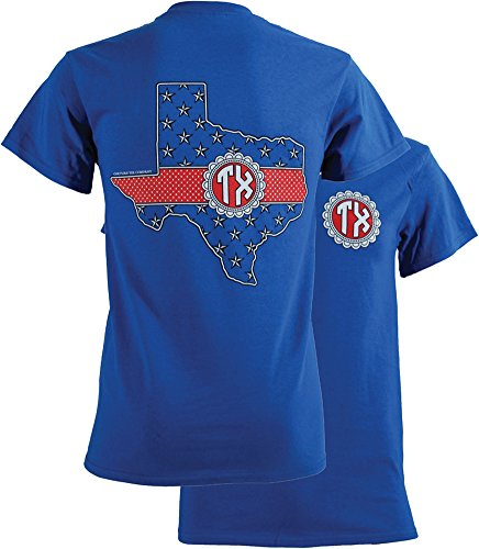 Southern Couture Women's Texas Monogram Short-Sleeve Tee Shirt Small Royal Blue