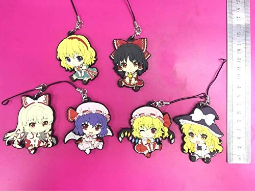 (Allegro Huyer 6pcs/lot Touhou Project Original Japanese Anime Figure Rubber Silicone Sweet Smell Mobile Phone Charms Keychain Strap)