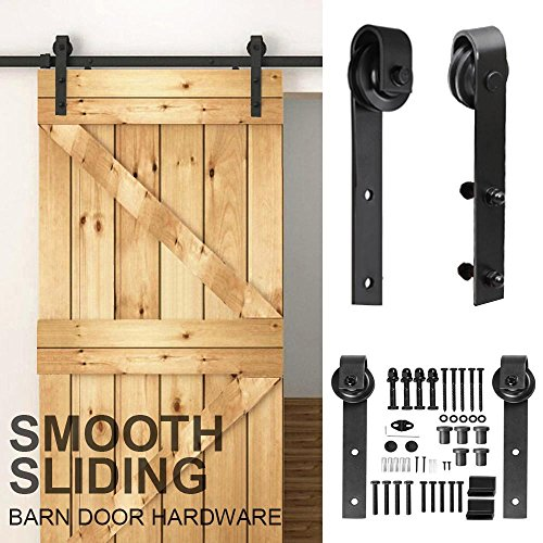Bedroom Closet Doors (Yaheetech 8Ft Sliding Barn Door Hardware Kit Set Antique Style Single Closet Wood Track System Black)