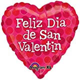 "Add our Feliz Dia De San Valentin to your Valentine's Day decorations! Features a red heart balloon with polka dots and the message ""Feliz Dia De San Valentin"". Balloon is shipped flat and can be inflated with air or helium. Measures 18"". Inc..."