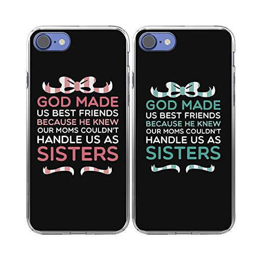 iPhone 7 Case-TTOTT 2X BFF Cases Floral God made Us Best Friend Couple Cases New Fashion Matching TPU Bumper Shockproof Rubber Protector Cover Case for iPhone7 Case 4.7''inch2016 New Model