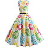 Swyss Womens Vintage Printing Bodycon Sleeveless Hepburn Style Elegant Evening Party Prom Swing Dress Tunic Dress (M, Yellow)
