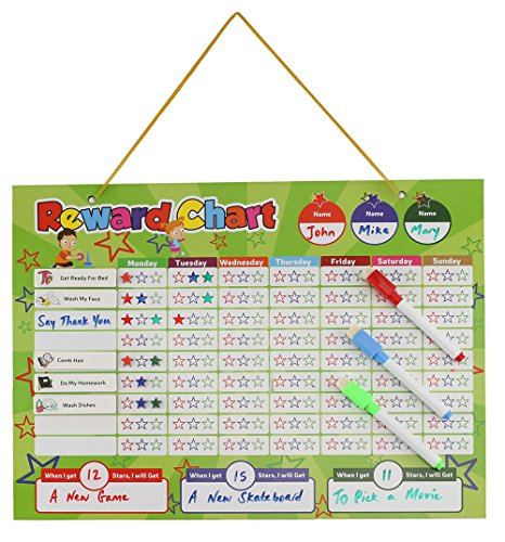 Magnetic Reward Chart Set, Includes: 20 Magnetic Chores, 240 Magnetic Stars & 4 Color Dry Erase Markers! Behavior Chart Board Magnetic Backing & Hanging loop for Wall, Rigid board Dry Erasable,16 x 12 by DasKid (Image #2)