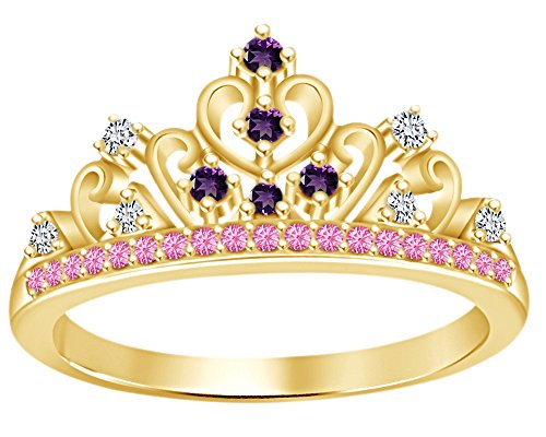 AFFY Round Cut Simulated Multi Stone Rapunzel Princess Style Engagement Wedding Crown Ring in 14k Yellow Gold Over Sterling Silver with Ring Size -