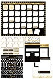 Renewing Minds Glimmer of Gold Glimmer of Gold Customizable Calendar Bulletin Board Set, Black/Gold/White, Set of 100 Pieces