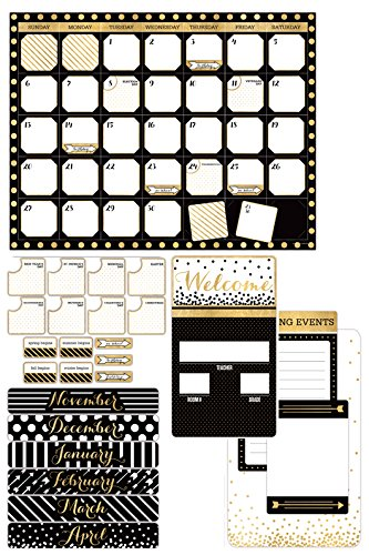 Black And Gold Border (Renewing Minds Glimmer of Gold Glimmer of Gold Customizable Calendar Bulletin Board Set, Black/Gold/White, Set of 100)