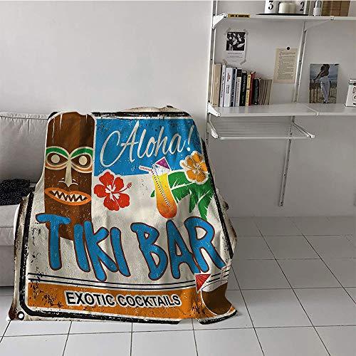 (Khaki home Children's Blanket Throw Lightweight All-Season Blanket (70 by 90 Inch,Tiki Bar Decor,Rusty Vintage Sign Aloha Exotic Cocktails Coconut Drink Antique Nostalgic,Multicolor)