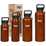 Healthy Human Insulated Stainless Steel Water Bottle Stein – Cold 24 Hours/Hot 12 Hours – Double Walled Vacuum Flask with Hydro Guide & Carabiner – 32 oz Harvest Maple