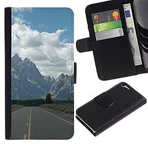 // PHONE CASE GIFT // Moda Estuche Funda de Cuero Billetera Tarjeta de crédito dinero bolsa Cubierta de proteccion Caso Apple Iphone 5 / 5S / Road To Mountains /